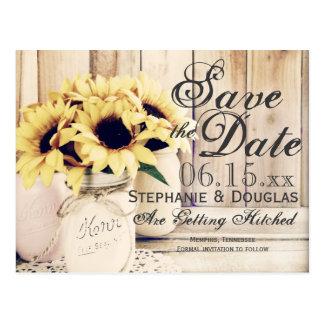 Rustic Sunflower Mason Jar Save the Date Postcards