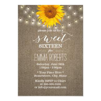 Rustic Sunflower & String Lights Burlap Sweet 16 13 Cm X 18 Cm Invitation Card