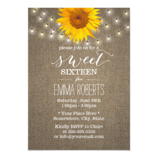 Rustic Sunflower & String Lights Burlap Sweet 16 Card