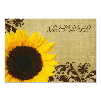 Rustic Sunflower Swirls Wedding RSVP Response Card