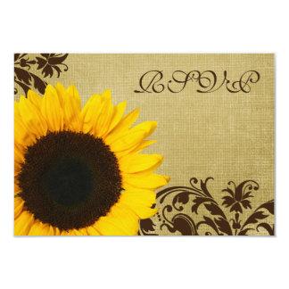 Rustic Sunflower Swirls Wedding RSVP Response Card 9 Cm X 13 Cm Invitation Card