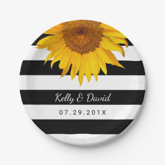 Rustic Sunflower Wedding Modern Stripes 7 Inch Paper Plate