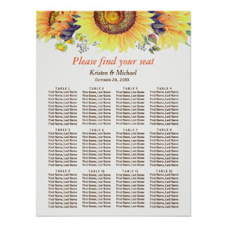 Rustic Sunflowers 12 Tables Wedding Seating Chart