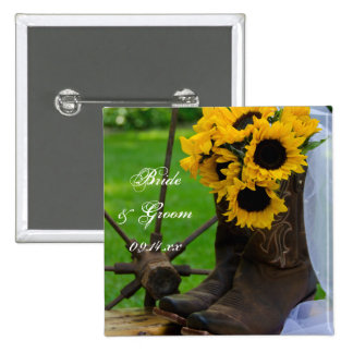 Rustic Sunflowers Country Wedding Button