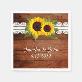 Rustic Sunflowers Lace Wedding Collection Napkins Disposable Serviettes