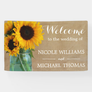 Rustic Sunflowers Mason Jar Country Wedding Banner