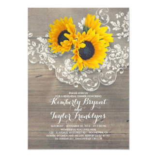 Rustic Sunflowers Wood Lace Rehearsal Dinner Card