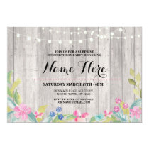 Rustic Surprise Birthday Party Floral Pink Invite