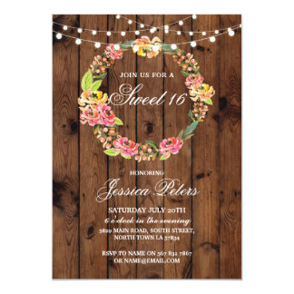 Rustic Sweet 16 Party Floral Wreath Flowers Invite