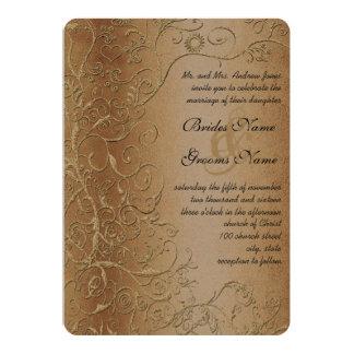 Rustic Swirls Black Font Wedding Invitation