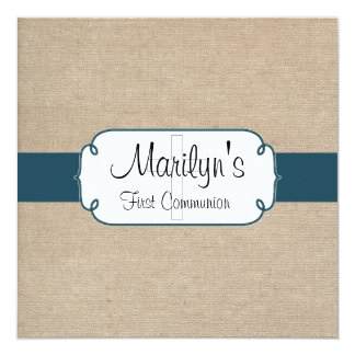 Rustic Teal and Beige Burlap First Communion Card