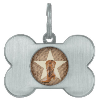 rustic texas lone star western country cowgirl pet ID tag