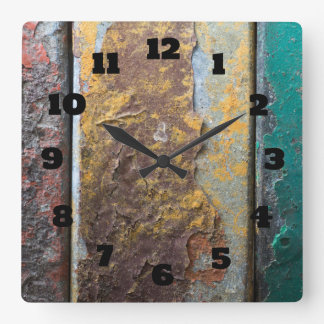Rustic Texture With Flaking Paint On Rusty Metal Square Wall Clock