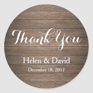 Rustic Thank You Wedding Favour Stickers