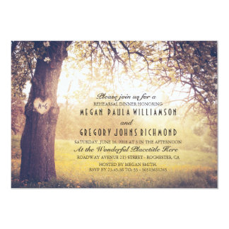 Rustic Tree and Carved Heart Rehearsal Dinner Card