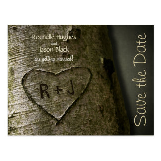 Rustic Tree Carve -- Save the Date Postcard