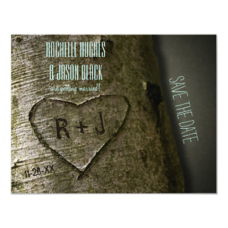 Rustic Tree Carving Save the Date 4.25x5.5 Paper Invitation Card