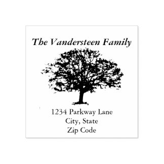 Rustic Tree Family Name Return Address Stamp