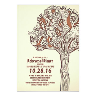 Rustic Tree Floral Branches Rehearsal Dinner 13 Cm X 18 Cm Invitation Card