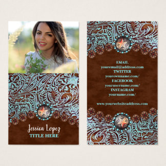 rustic turquoise brown western country leather business card