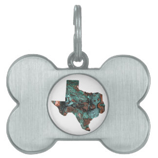 Rustic Turquoise Texas Pet Tag