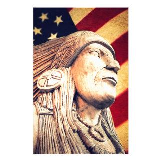 Rustic USA flag patriotic Native American Stationery