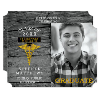 Rustic Veterinarian Veterinary Medicine Graduation Card