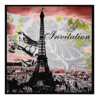 rustic vintage bird eiffel tower Paris wedding 13 Cm X 13 Cm Square Invitation Card
