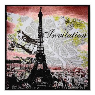 rustic vintage bird eiffel tower Paris wedding Card