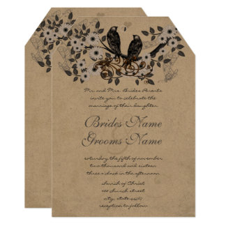 Rustic Vintage Birds Christian Religious Wedding Card