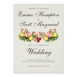 "Rustic vintage botanical floral wedding invitation 5"" x 7"" invitation card"