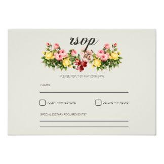 """Rustic vintage botanical floral wedding RSVP 5"""" X 7"""" Invitation Card"""