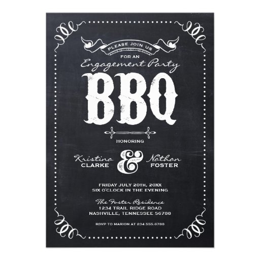 Rustic Vintage Chalkbaord Engagement Party Personalized Invite