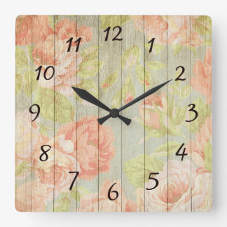Rustic Vintage Floral Wood Rose Square Wall Clock
