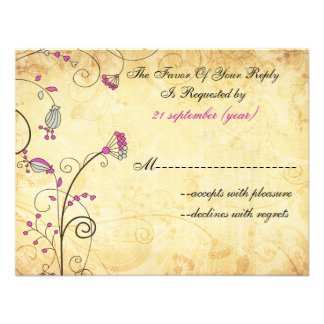 rustic vintage fuchsia floral wedding rsvp personalized invitation