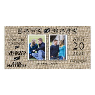 Rustic Vintage Look Save The Date 2 Photo Customised Photo Card