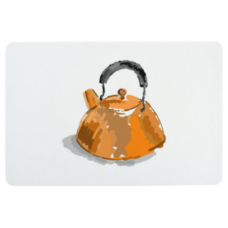 Rustic Vintage Orange Tea Kettle Floor Mat