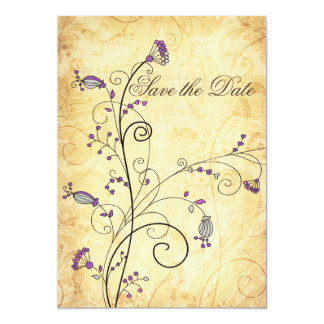 rustic vintage purple floral Save the dates 5x7 Paper Invitation Card