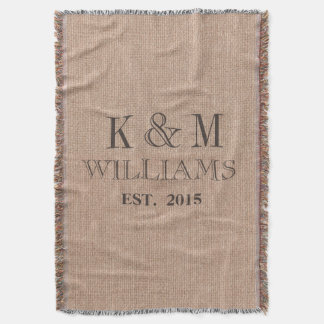 Rustic Vintage Wedding Monogram Keepsake Throw Blanket