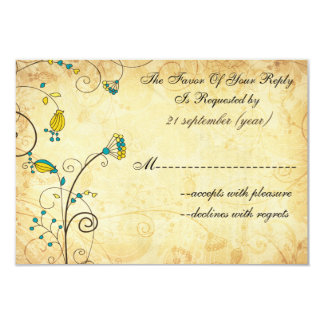 rustic vintage yellow floral wedding rsvp 3.5 x 5 3.5x5 paper invitation card