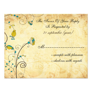 rustic vintage yellow floral wedding rsvp custom announcements