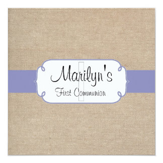 Rustic Violet and Beige Burlap First Communion Card