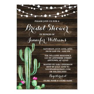 Rustic Watercolor Cactus Barn Wood Bridal Shower 13 Cm X 18 Cm Invitation Card