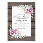 Rustic Watercolor Succulent Floral Bridal Shower Card