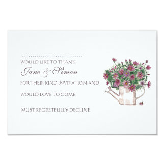 Rustic Watering Can Floral Wedding RSVP card 9 Cm X 13 Cm Invitation Card