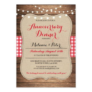 Rustic Wedding Anniversary Red Party Invitation