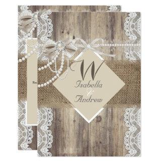 Rustic Wedding Beige Pearl Lace Wood Burlap Card