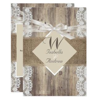 Rustic Wedding Beige White Lace Wood Burlap 2 Card