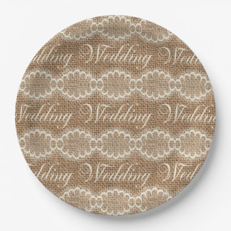 Rustic Wedding Burlap Lace 9 Inch Paper Plate