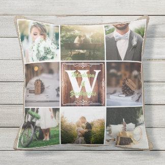 Rustic Wedding Instagram Photo Grid Wood Burlap Outdoor Cushion